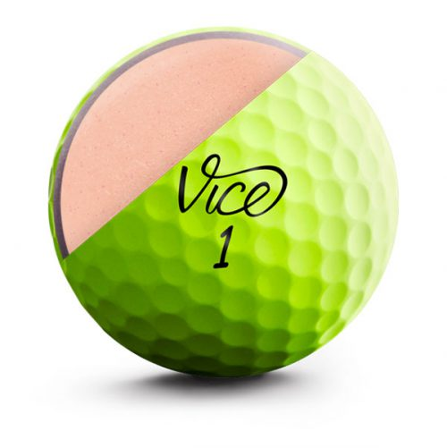 Vice Pro Soft Lime Neon Front Golfball Cut