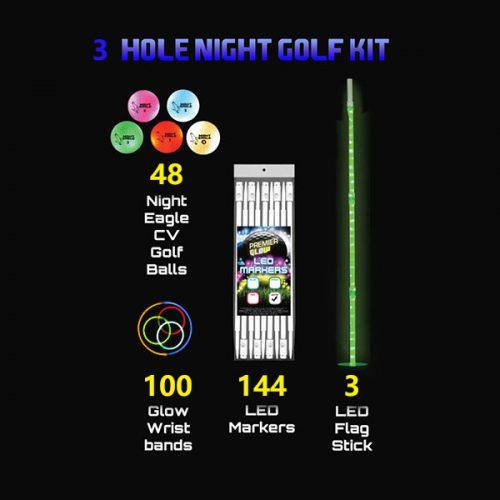 LED 3-hole-kit 48 Night Eagle Golfbälle 3-LED-Flaggen