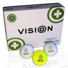 Pro Soft 808 TestTheVision Set 12er Box Golfbälle Weiß Gelb