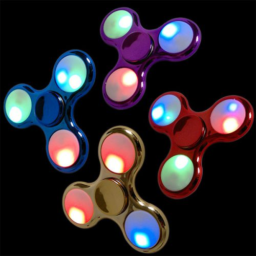 LED Fidget Spinner Metallic Rot-Blau-Gold-Lila aktiv