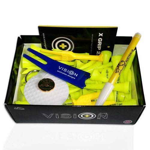 Vision 50 Golf Tees Gelb Plastick Set Pitchgabel Ballmarker Box