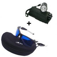 Golfballfinder Paket Brille A99 auf Etui und Golfball-Uhu LED Ballfinder