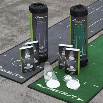 PuttOut Puttingmatte Grau-Grün Golf 50x240cm inkl Transportbeutel und Trainer