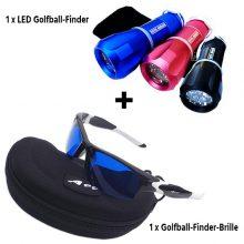 Golfball Finder Paket Brille A99 und Nite Hawk LED Golfballfinder 3 Farben (Blau, Pink, Schwarz)