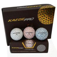 Kaede Pro Soft Distance Golfbälle 3 Farben Champagner Pink Blau Silber 12er Pack oben