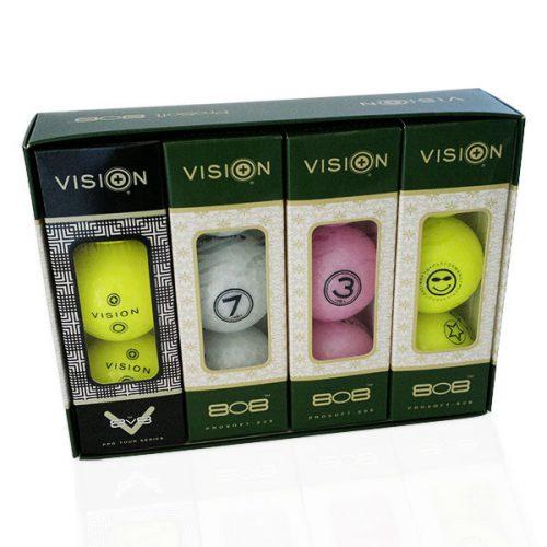 TestTheVision UVee-R Type Pro Soft Tour Golfbälle Gelb Weiß Pink 12er Box offen