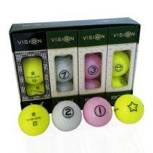 TestTheVision UVee-R Type Pro Soft Tour Golfbälle Gelb Weiß Pink 12er Box offen plus