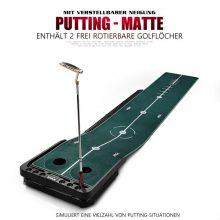 PGM Golf Putting Matte verstellbare Neigung 300x53cm Grün Schwarz Samtbelag mit Putter