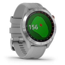 Garmin Approach S40 GPS Golfuhr Edelstahl mit grauem Armband Ansicht Fahne im Visier