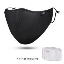 Maske Atemschutz 7-lagig mit Aktivkohlefilter modisch Front räumlich Modell 0066