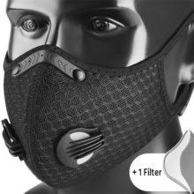 Atmungsaktive Maske Mundschutz für Sport Schwarz Dehnbar Modell Nahaufnahme