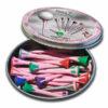 Fancytees LADY 24 Kunststofftees Pink 55mm und 70mm Metallbox Front offen