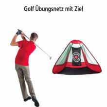 P2I Pop Up Golf Übungsnetz 3m mit Ziel - Dreieckig Ansicht vorne in Aktion beschriftet