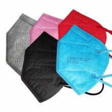 FFP2 Maske Mundschutz Bunt CE zertifiziert 5 lagig alle 5 Farben übereinander