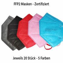 FFP2 Maske Mundschutz Bunt CE zertifiziert 5 lagig alle 5 Farben in Reihe beschriftet