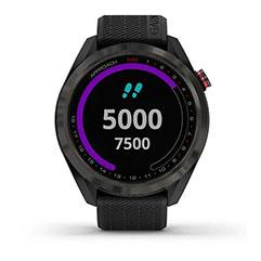 Garmin Approach S42 GPS Golfuhr Grau mit schwarzem Armband Front Bleibe Fit