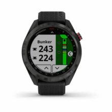 Garmin Approach S42 GPS Golfuhr Grau mit schwarzem Armband Front Bunker