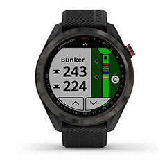 Garmin Approach S42 GPS Golfuhr Grau mit schwarzem Armband Front Bunker allgemein