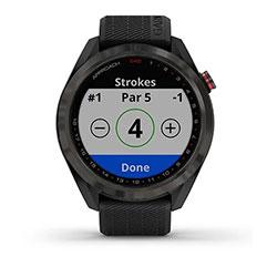 Garmin Approach S42 GPS Golfuhr Grau mit schwarzem Armband Front Strokes allgemein