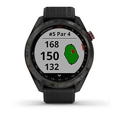 Garmin Approach S42 GPS Golfuhr Grau mit schwarzem Armband Front präzise Distanz