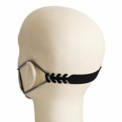 Maskenhalter Haken Ohrenschoner Schwarz für FFP2 Maske Mundschutz Grau Hinterkopf seitlich