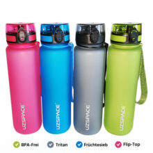 Trinkflasche Wasserflasche 1L Tritan BPA-Frei 4 Farben nebeneinander beschriftet